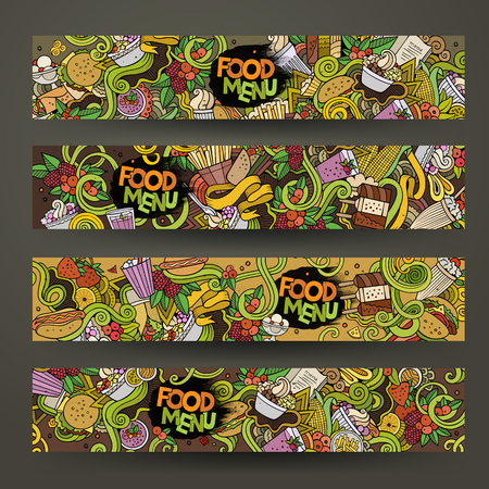 ham sandwich: Vector hand drawn doodles food banners design templates set