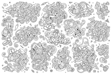machu: Sketchy vector hand drawn Doodle cartoon set of objects and symbols on the Latin America theme