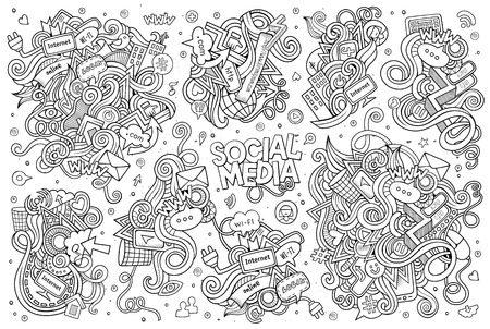 Sketchy vector hand drawn Doodle cartoon set of objects and symbols on the Social Media theme Çizim