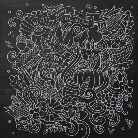 corn flower: Cartoon vector hand-drawn Doodle Thanksgiving. Chalkboard design background with objects and symbols.