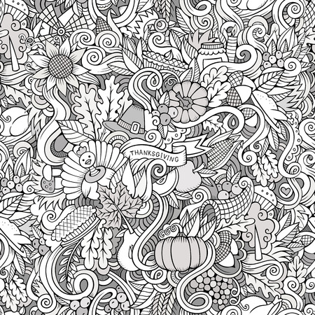 cornucopia: Cartoon vector hand-drawn Doodles on the subject of Thanksgiving autumn symbols, food and drinks seamless pattern. Contour background Illustration