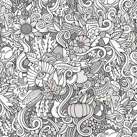 cuerno de la abundancia: Doodles vector de dibujos animados dibujados a mano sobre el tema de la acción de gracias símbolos de otoño, comida y bebidas sin fisuras patrón. fondo del contorno