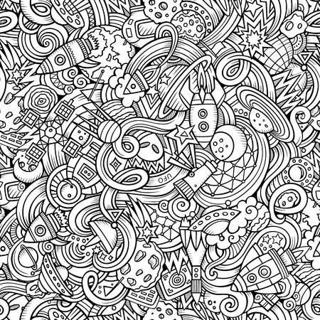 Cartoon hand-drawn doodles on the subject of space style theme seamless pattern. Vector  background 일러스트
