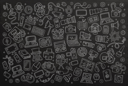 network engineer: Chalkboard vector hand drawn Doodle cartoon set of equipment and devices objects and symbols