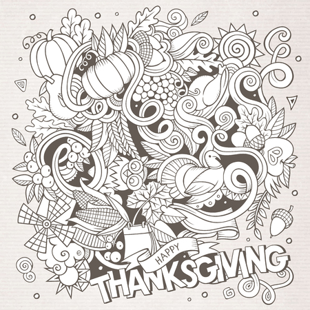 corn flower: Cartoon vector hand-drawn Doodle Thanksgiving. Sketchy design background with objects and symbols. Illustration