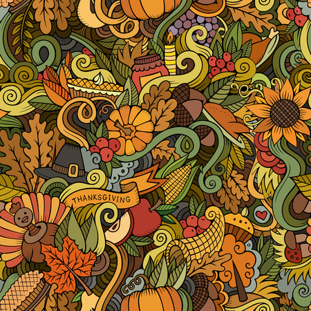 Cartoon vector hand-drawn Doodles on the subject of Thanksgiving autumn symbols, food and drinks seamless pattern. Color background Ilustração
