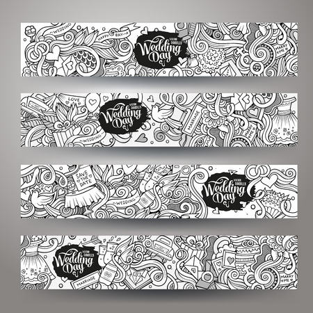 ceremony: Cartoon vector hand-drawn Doodle on the subject of wedding. Horizontal banners design templates set