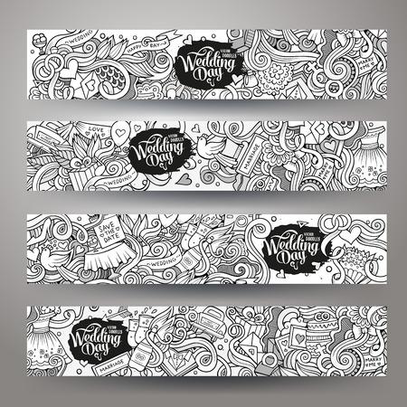 Feier: Cartoon Vektor Doodle zum Thema Hochzeit von Hand gezeichnet. Horizontale Banner-Design-Vorlagen eingestellt