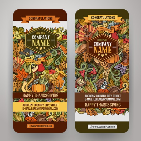Cartoon vector hand-drawn Doodle Happy Thanksgiving Day cards. Vertical banners design templates set Illustration