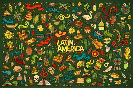 大ざっぱなベクトル オブジェクトとシンボルの落書き漫画セット ラテン アメリカをテーマに手書きします。