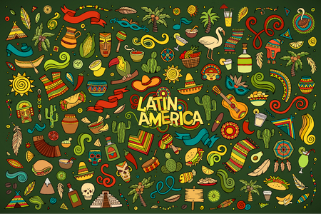 라틴 아메리카 테마 개체 및 기호 스케치 벡터 손으로 그린 낙서 만화 세트