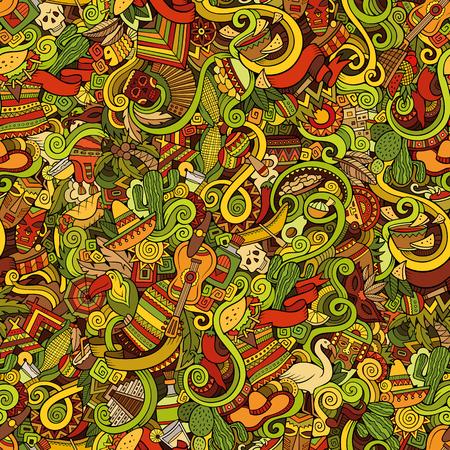 라틴 아메리카 스타일 테마 원활한 패턴의 주제에 만화 손으로 그린 낙서. 다채로운 벡터 배경
