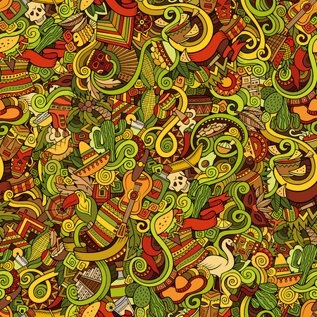 Cartoon hand-drawn doodles on the subject of Latin American style theme seamless pattern. Colorful vector background
