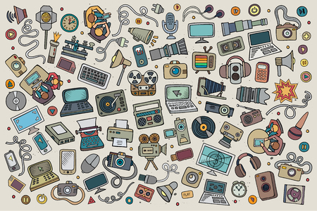 objects equipment: Color vector hand drawn Doodle cartoon set of equipment and devices objects and symbols