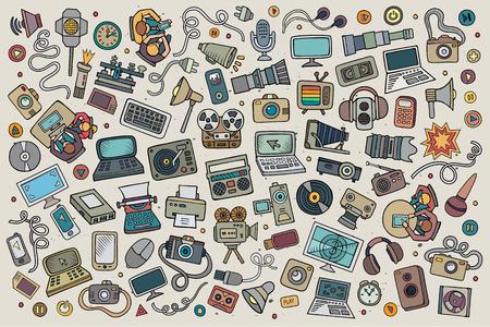 cable telefono: vectorial de color dibujado a mano Conjunto de la historieta del Doodle de los equipos y dispositivos de objetos y símbolos