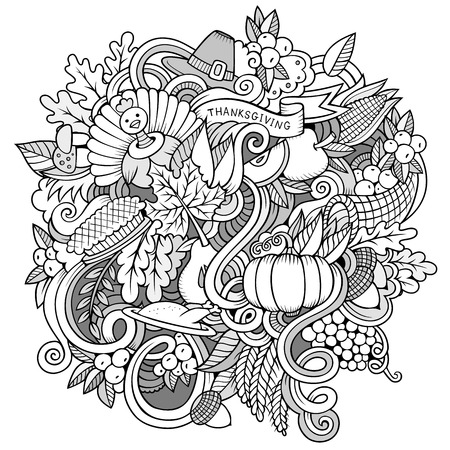 decor graphic: Cartoon vector hand-drawn Doodle Thanksgiving. Sketchy design background with objects and symbols. Illustration
