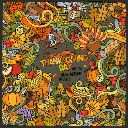 apple border: Cartoon vector hand-drawn Doodle Thanksgiving frame. Colorful card design background with objects and symbols.