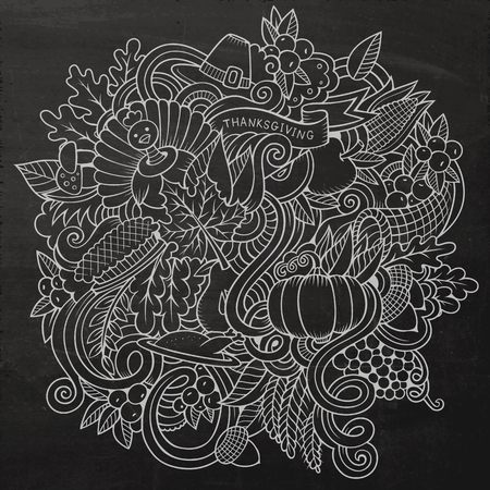 design objects: Cartoon vector hand-drawn Doodle Thanksgiving. Chalkboard design background with objects and symbols.