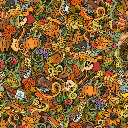 cuerno de la abundancia: Doodles vector de la historieta dibujada mano-sobre el tema de Acción de Gracias símbolos otoño, comida y bebidas sin patrón. Fondo del color