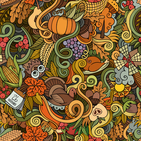 cartoon apple: Cartoon vector hand-drawn Doodles on the subject of Thanksgiving autumn symbols, food and drinks seamless pattern. Color background Illustration