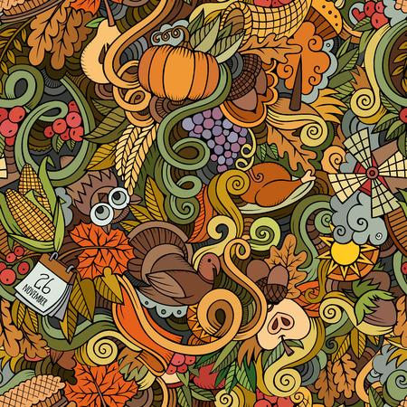calabaza caricatura: Doodles vector de la historieta dibujada mano-sobre el tema de Acci�n de Gracias s�mbolos oto�o, comida y bebidas sin patr�n. Fondo del color