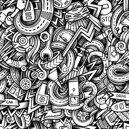 repuestos de carros: Garabatos de dibujos animados dibujados a mano, sobre el tema de tema de estilo de coche sin patrón. Vector rastro de fondo