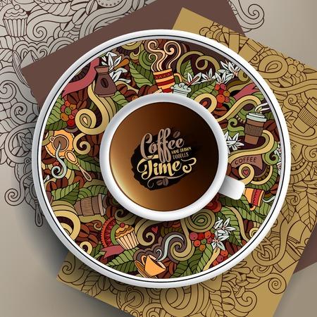 ベクトル カップと手描きイラスト コーヒーが受け皿と背景の落書き  イラスト・ベクター素材