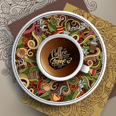 Vector illustratie met een beker en hand getekende Coffee doodles op een schotel en achtergrond