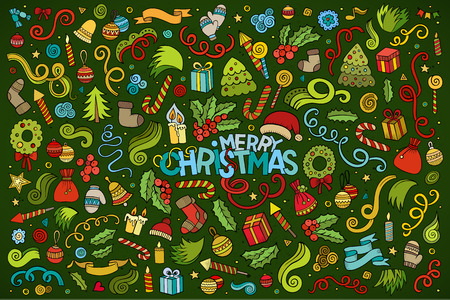 christmas objects: Colorful vector hand drawn Doodle cartoon set of objects and symbols on the Merry Christmas theme Illustration
