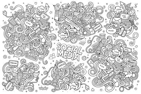 소셜 미디어 주제에 개체 및 기호 스케치 벡터 손으로 그린 낙서 만화 세트 일러스트
