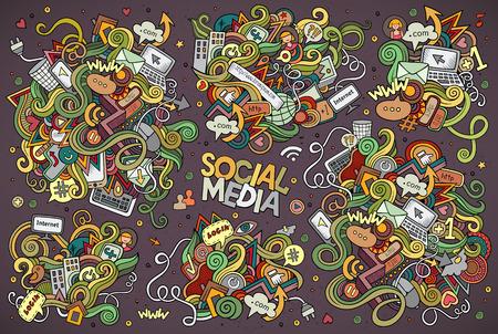 cartoon hand: Vector hand drawn Doodle cartoon set of objects and symbols on the Social Media theme