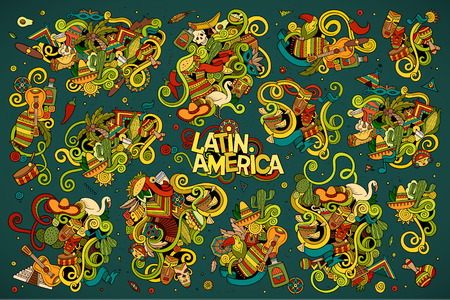 大ざっぱなベクトル オブジェクトとシンボルの落書き漫画セット ラテン アメリカをテーマに手書きします。 写真素材 - 48231353