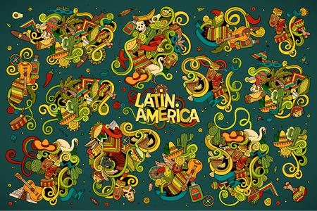 america del sur: Sketchy vector de la mano Conjunto de la historieta dibujada Doodle de objetos y símbolos en el tema de América Latina Vectores
