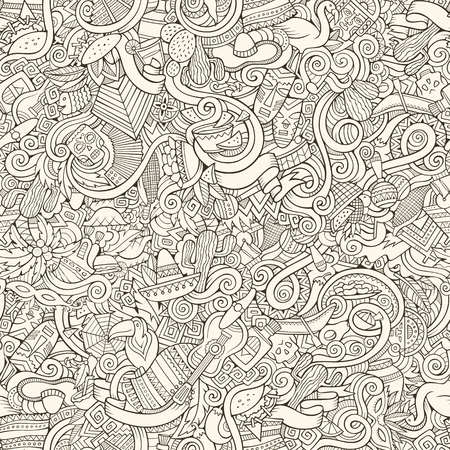 picchu: Cartoon hand-drawn doodles on the subject of Latin American style theme seamless pattern. Contour vector background Illustration
