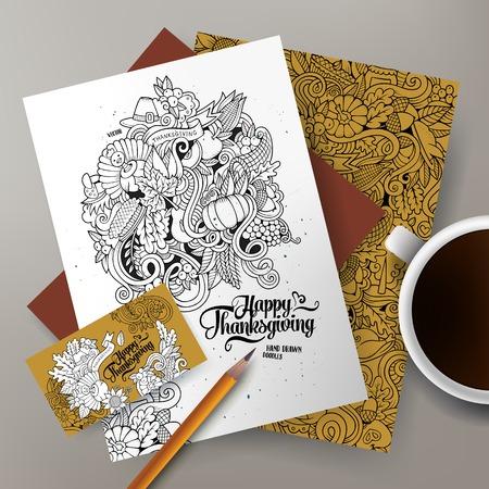 elote caricatura: Plantillas de identidad corporativa de vector conjunto de diseño con garabatos dibujados a mano tema de Acción de Gracias.