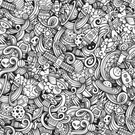 luna caricatura: Garabatos de dibujos animados dibujados a mano, sobre el tema de tema de espacio estilo sin patrón. Vector rastro de fondo