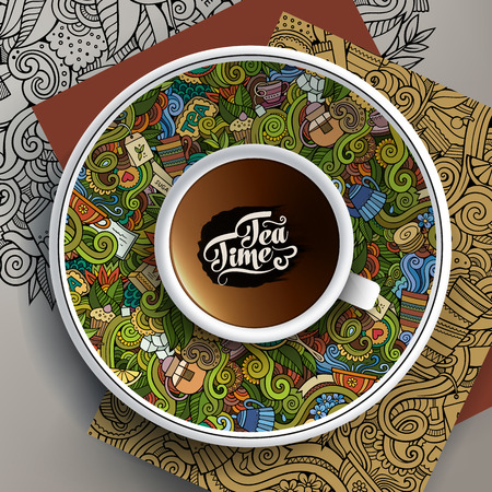Vector illustration with a Cup and hand drawn Tea doodles on a saucer and background