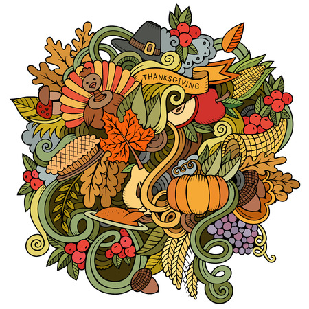 elote caricatura: Cartoon vector hand drawn Doodle Thanksgiving illustration. Colorful design background with objects and symbols.