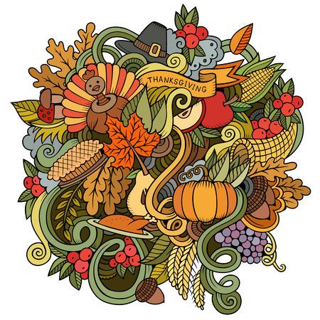 cuerno de la abundancia: Vector de la historieta dibujado a mano ilustración Doodle de Acción de Gracias. Diseño de fondo colorido con los objetos y símbolos.