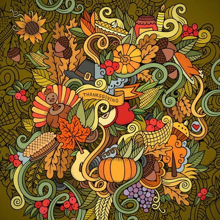 cornucopia: Cartoon vector hand drawn Doodle Thanksgiving illustration. Colorful design background with objects and symbols.