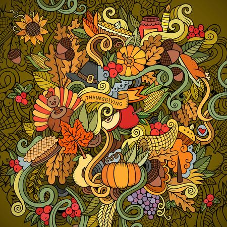 pajaro caricatura: Vector de la historieta dibujado a mano ilustración Doodle de Acción de Gracias. Diseño de fondo colorido con los objetos y símbolos.