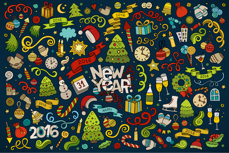 object: Vector hand drawn Doodle cartoon set of objects and symbols on the New Year theme