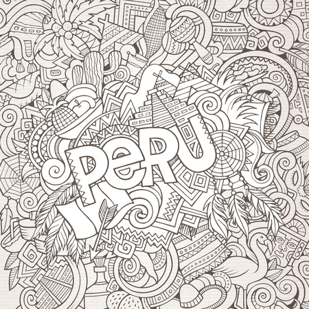 picchu: Peru country hand lettering and doodles elements and symbols background. Vector hand drawn sketchy illustration