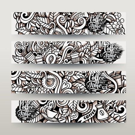 Graphics vector hand-drawn sketchy trace Coffee Doodle. Horizontal banners design templates set Stok Fotoğraf - 48485861