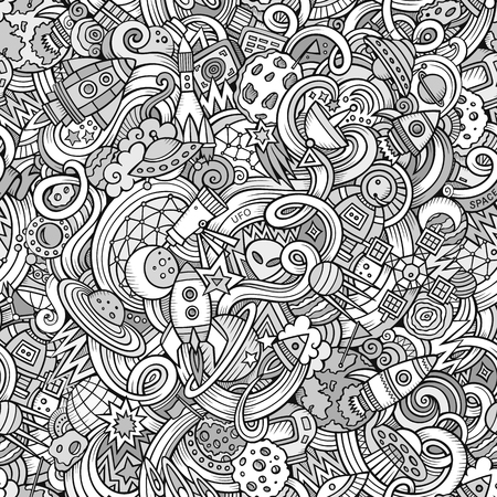 kosmos: Cartoon hand-drawn doodles on the subject of space style theme seamless pattern. Vector line art background