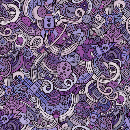 detailed: Cartoon hand-drawn doodles on the subject of space style theme seamless pattern.  Illustration
