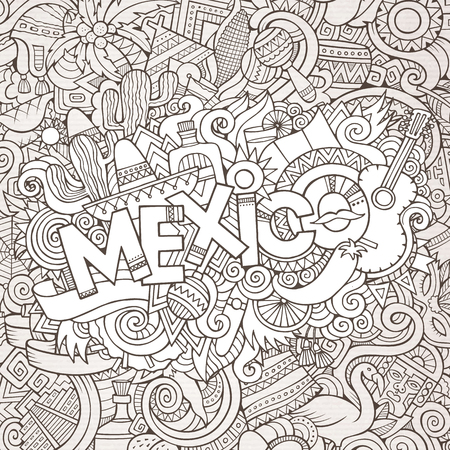 Mexico country hand lettering and doodles elements and symbols background. Vector hand drawn sketchy illustration