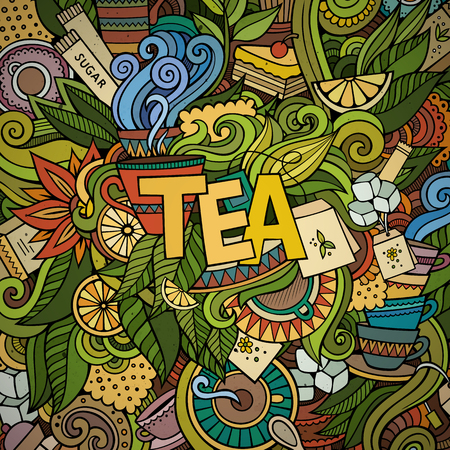 green tea cup: Tea hand lettering and doodles elements background. Vector illustration