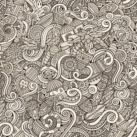 line art: Cartoon hand-drawn doodles on the subject of Africa style theme seamless pattern. Line art vector background