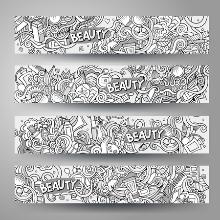 hair brush: Cartoon vector hand-drawn Doodle on the subject of cosmetic and beauty. Horizontal banners design templates set